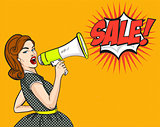 Pop Art. Woman, SALE, discounts, sign. vector illustration.