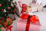 Boy with a big Christmas gift