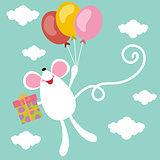 Birthday card with cute mouse