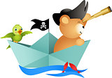 Pirate teddy bear on boat with bird