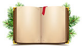 Open book with blank pages and red bookmark. Green Christmas pine branch