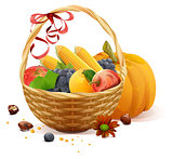 Fruits and vegetables in wicker basket. Rich harvest for Thanksgiving day