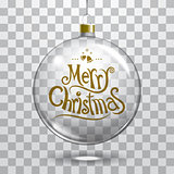 Vector christmas glass ball on transparent background. Xmas ball