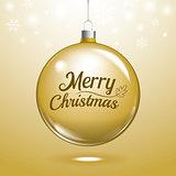 Golden christmas ball on snowflakes and blurry lights bokeh back