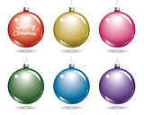 Colorful christmas balls. Set of isolated multicolor ball decora