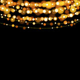 Christmas lights design elements background. Glowing lights for