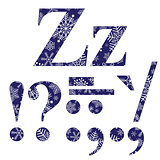 Uppercase and lowercase letters Z and signs
