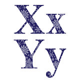Uppercase and lowercase letters X and Y