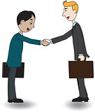 Two businessmen shaking hand, vector illustration, cartoon