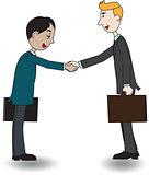 Two businessmen shaking hand, vector illustration, cartoon