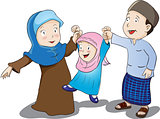 Happy Muslim Family, Vector Illustration