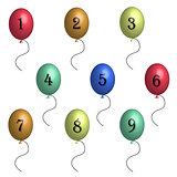 Birthday balloons in 3D