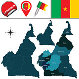 Map of Cameroon with Named Regions