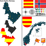 Map of Aust Agder, Norway