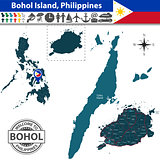 Map of Bohol island, Philippines