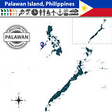 Map of Palawan island, Philippines