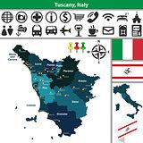 Tuscany with regions, Italy