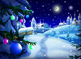 Magic Christmas & New Year Night Landscape