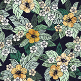 Summer floral seamless pattern with hibiscus flowers.