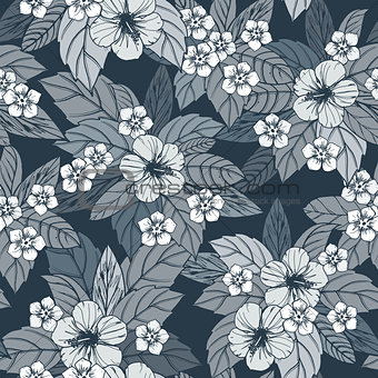 Autumn floral seamless pattern with hibiscus flowers.