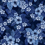 Indigo floral seamless pattern with hibiscus flowers.