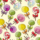 Seamless pattern with color lollipops