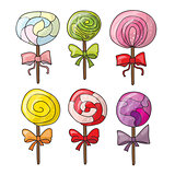 Set of colorful lollipops in hand drawn style