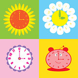 set of colorful background with clock