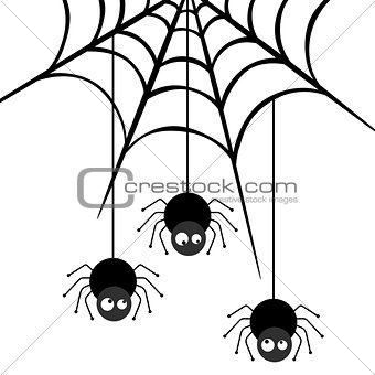 Three spiders descending on a web