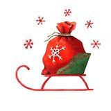 Santa's sack in a sleigh