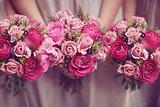 Pink Bridesmaids Posies