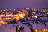 European Town in the Winter Evening