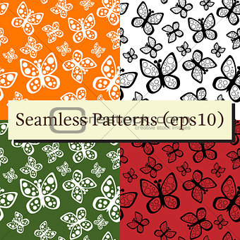 Beautiful seamless butterflies pattern set in different colors.