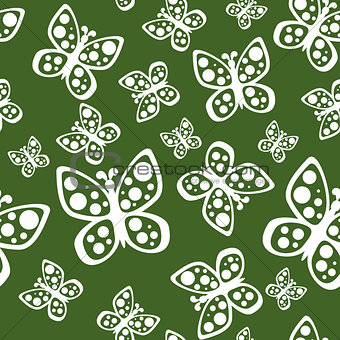 Beautiful seamless butterflies pattern in green and white colors.