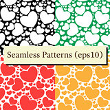 Seamless patterns set with hearts