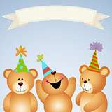 Background banner teddy bears happy party