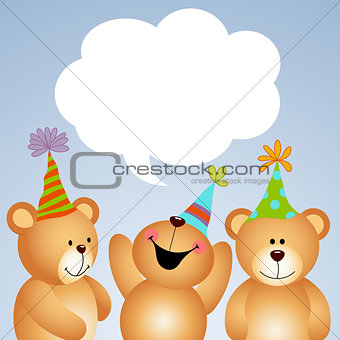 Background teddy bears with comic balloon