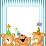 Blue Frame Happy Birthday Teddy Bears