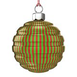 Red and green striped Christmas ball isolated on white backgroun