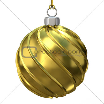 Gold Christmas ball. 3D