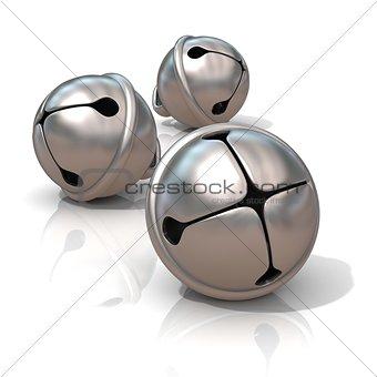 Three silver sleigh bells, 3D