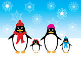 Vector Penguin Family