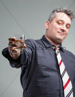 man offering some liquid courage