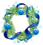 Christmas wreath decorated ribbon and blue balls