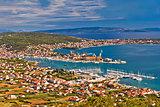 Trogir shipyard and Ciovo island aerial view