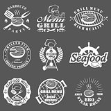 set of seafood labels