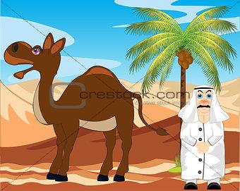 Arab with camel in desert