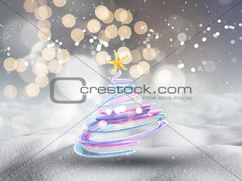 3D Christmas tree in snowy landscape with bokeh lights