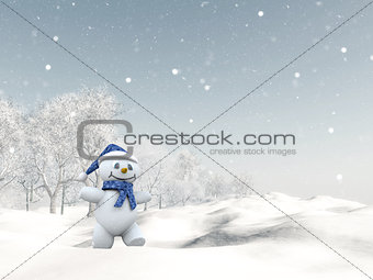 3D cute snowman in winter landscape