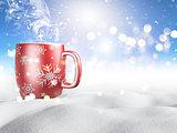 3D mug of hot drink nestled in snow